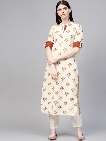 fcfbc3a55 60% OFF on Libas Women Off-White & Orange Printed Straight Kurta on Myntra    PaisaWapas.com