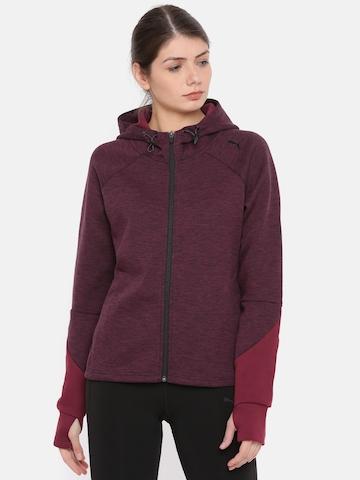 b624bb783d12 60% OFF on Puma Women Burgundy Regular Fit dryCell Technology Evostripe FZ  Hoody Solid Sporty Jacket on Myntra