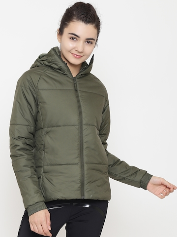 c76824ad2 30% OFF on Adidas Women Olive Green BTS Winter Solid Hooded Outdoor Padded  Jacket on Myntra | PaisaWapas.com