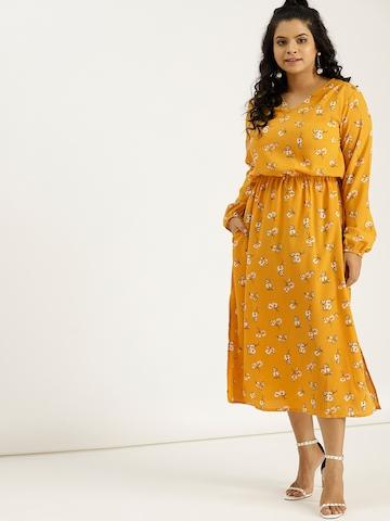 c91b823b450 50% OFF on Sztori Women Yellow Printed Empire Dress on Myntra |  PaisaWapas.com