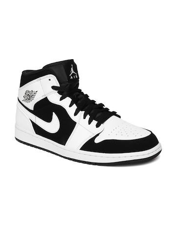 Buy Nike Men White Leather Mid Top Basketball Shoes On Myntra