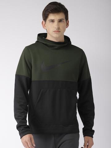 d764bc2945ba 30% OFF on Nike Men Olive Green   Black Colourblocked Standard Fit  SPOTLIGHT HOODIE Sweatshirt on Myntra