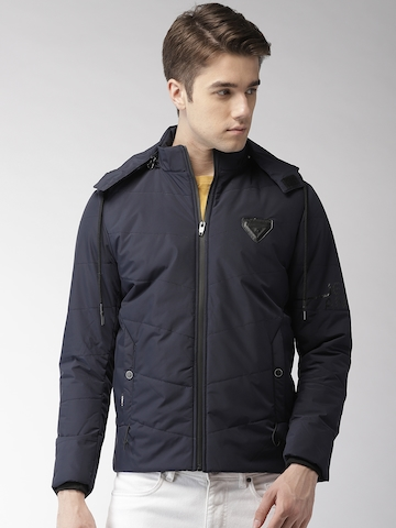 3a61ff792 40% OFF on Fort Collins Men Navy Blue Solid Detachable Hooded Padded Jacket
