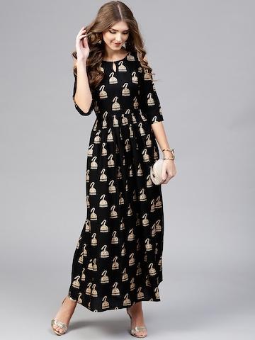 e0d5675d14ece Libas Women Black & Golden Block Print Maxi Dress