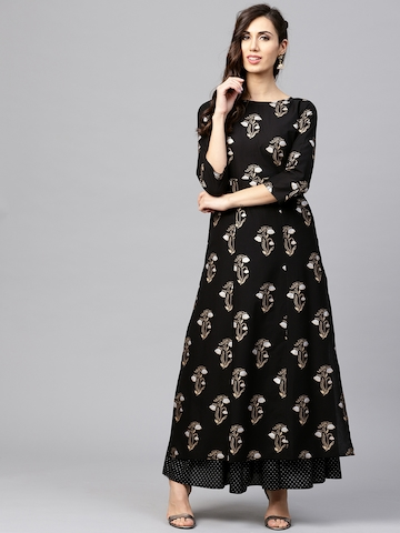 b283f3cf18c 65% OFF on Nayo Women Black   Golden Printed Kurta with Skirt on Myntra