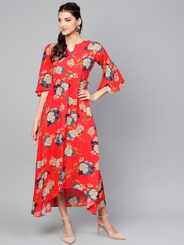 bc1b852cda2 Buy Libas Women Red   Beige Floral Print Maxi Dress on Myntra ...