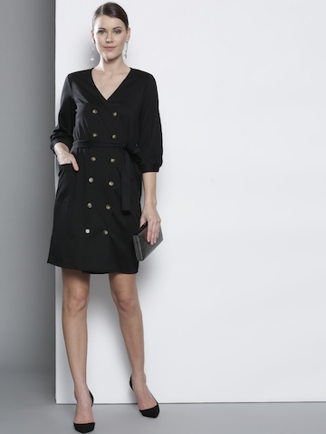 5b03a55052830 25% OFF on DOROTHY PERKINS Women Black Solid Wrap Dress on Myntra |  PaisaWapas.com
