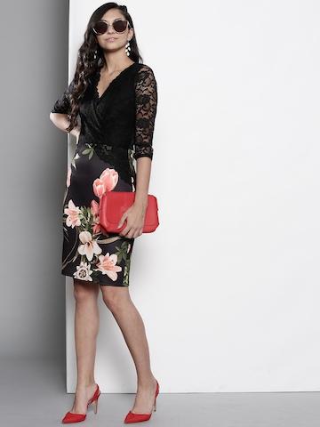 5e7fd54ff2b71 25% OFF on DOROTHY PERKINS Women Black & Pink Printed Wrap Dress on Myntra  | PaisaWapas.com