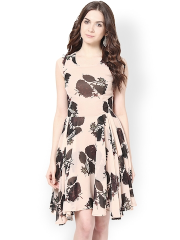 50% OFF on Harpa Peach-Coloured   Brown Printed Fit   Flare Dress on Myntra   578023a92e92