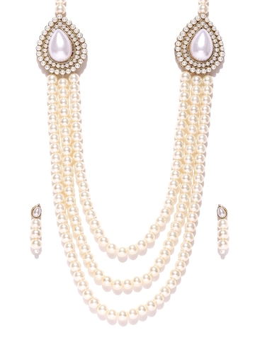66135af46 70% OFF on Zaveri Pearls Off-White Synthetic Pearl Jewellery Set on Myntra  | PaisaWapas.com