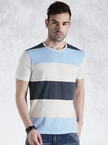 Roadster Blue & White Striped T-shirt