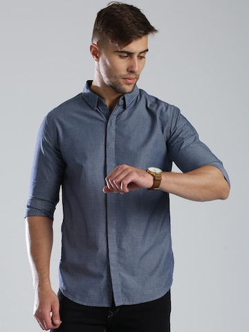 HRX by Hrithik Roshan Signature Blue Patterned Casual Shirt