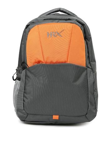a003de3f66 HRX by Hrithik Roshan Unisex Grey & Orange Backpack
