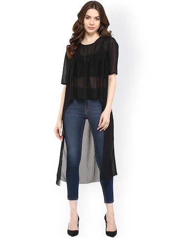 Pannkh Black Polyester High-Low Sheer Top