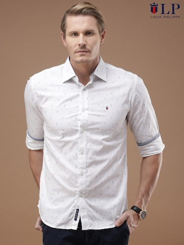 buy louis philippe sport white printed union slim fit