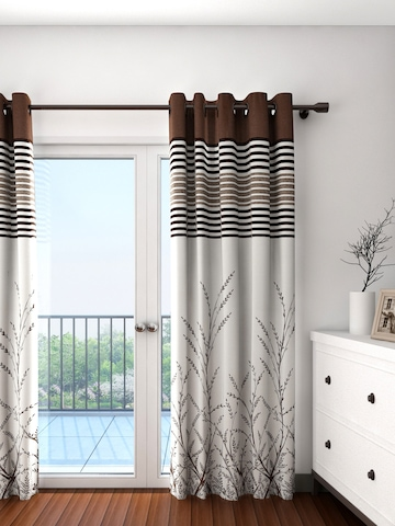 Cortina Off White Brown Single Patterned Blackout Door Curtain