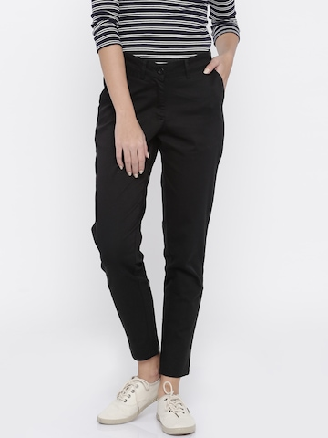 Mast & Harbour Women Black Solid Regular Fit Chino Trousers
