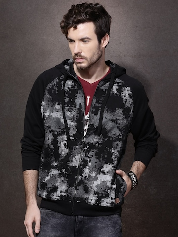 Buy Roadster Black Printed Hooded Sweatshirt on Myntra  c4bd1535e757