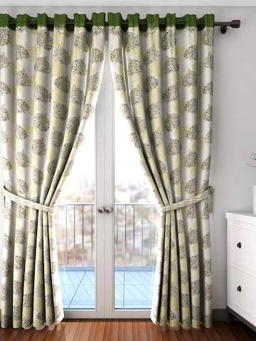 Cortina Set of 2 Off-White & Green Printed Room Darkening Long Door Curtains