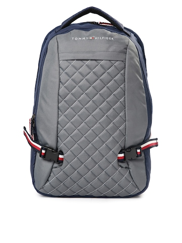 cae21782eda 45% OFF on Tommy Hilfiger Unisex Navy & Grey Quilted Laptop Backpack on  Myntra | PaisaWapas.com