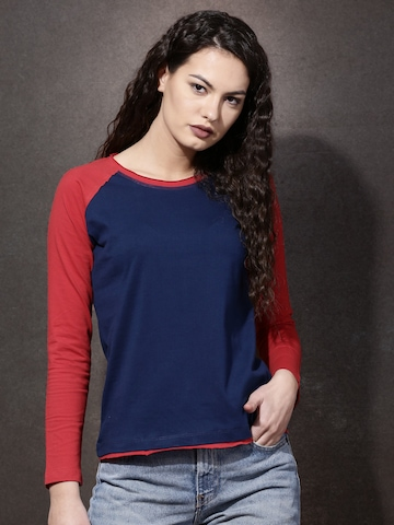 Roadster Women Navy & Red Colourblocked Round Neck T-shirt