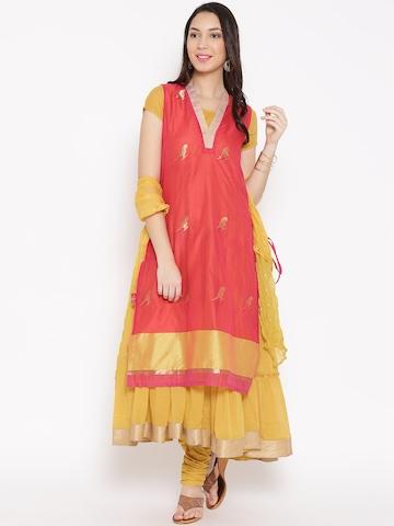 672835783cd 50% OFF on BIBA Coral Pink   Yellow Layered Anarkali Churidar Kurta with  Dupatta on Myntra