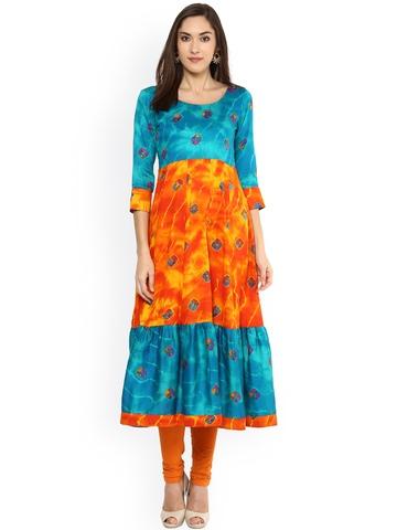 acff1a047 70% OFF on Libas Women Orange Printed Anarkali Kurta on Myntra ...