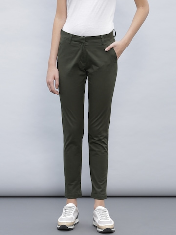 ether Women Olive Green Solid Straight Fit Flat-Front Trousers