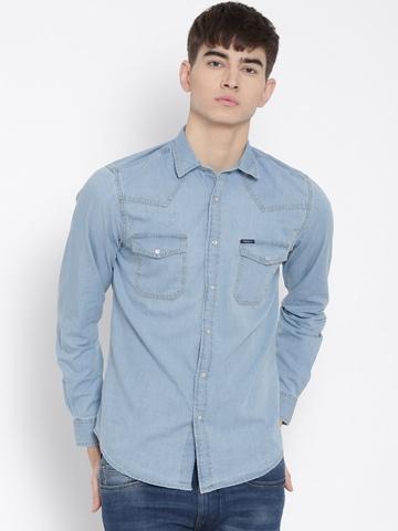 41b4af7ac27 Pepe Jeans Men Blue Solid Semi Fit Denim Shirt