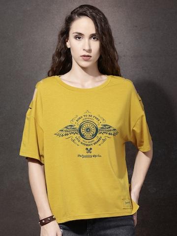 Roadster Women Mustard Yellow Printed Round Neck Boxy T-shirt