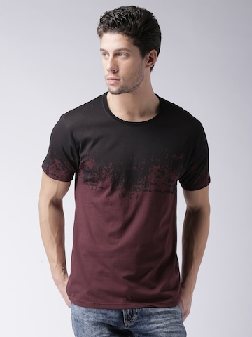 5b1d51be1d393 20% OFF on Moda Rapido Men Burgundy Colourblocked T-Shirt on Myntra ...
