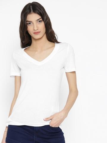 Buy forever 21 women white solid v neck t shirt on myntra for White t shirt v neck
