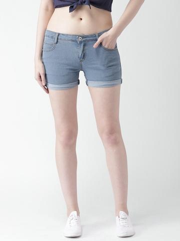 cfc439632 Buy Mast & Harbour Women Blue Solid Denim Shorts on Myntra | PaisaWapas.com