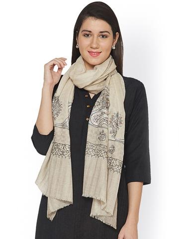 Sofias Exclusive Beige Embroidered Pashmina Shawl