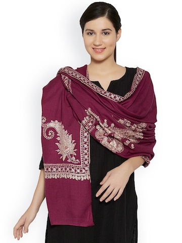 Sofias Burgundy Handwoven & Hand-Embroidered Pure Cashmere Shawl
