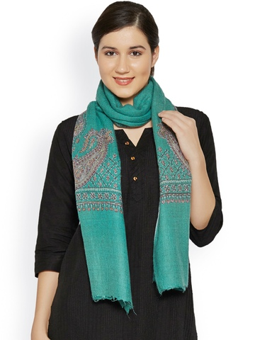 Sofias Green Handwoven & Hand-Embroidered Pure Cashmere Shawl