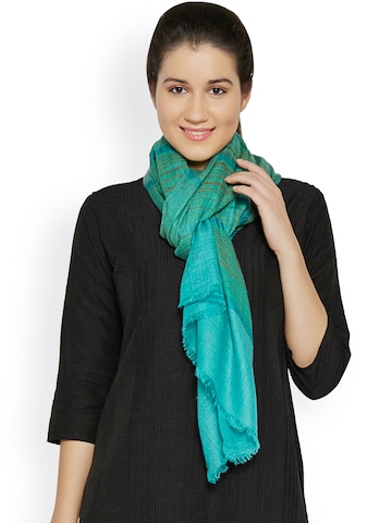 Sofias Green & Blue Handwoven Striped Pure Pashmina Shawl