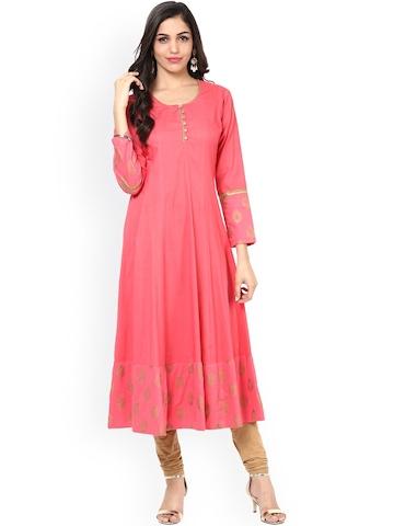 Bhama Couture Women Pink Printed Anarkali Kurta