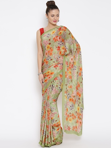 3b0218f24 50% OFF on Jashn Green Crepe Satin Floral Print Saree on Myntra ...
