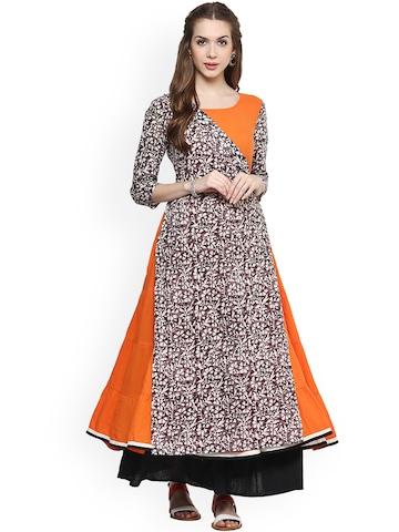 AKS Women Orange & Grey Printed Anarkali Kurta