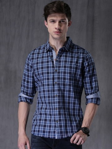 e0b0599304f 20% OFF on WROGN Navy Blue Slim Fit Checked Casual Shirt on Myntra ...