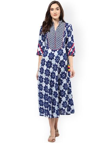 52f119d80 70% OFF on Jaipur Kurti Women Blue Printed Midi Dress on Myntra ...