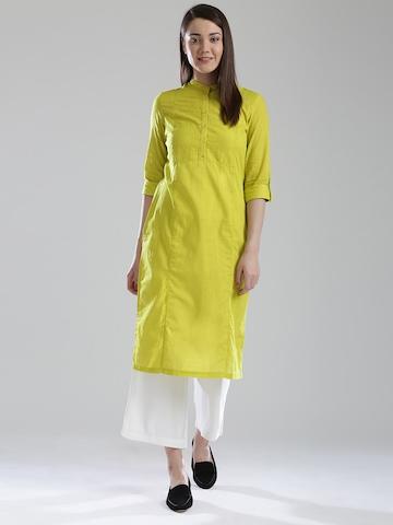 71097b8c65b 50% OFF on W Women Lime Green Solid Pathani Kurta with Tucks on Myntra