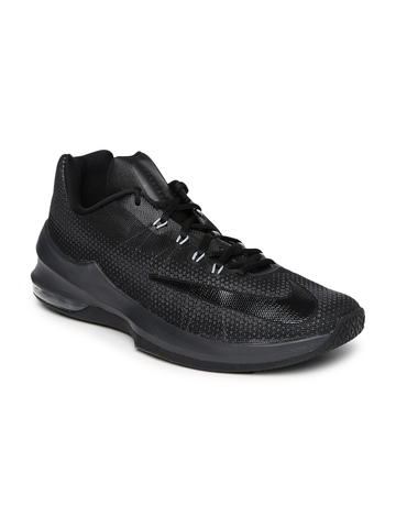 best website 21ddf 80241 Nike Men Black Air Max Infuriate Low Basketball Shoes