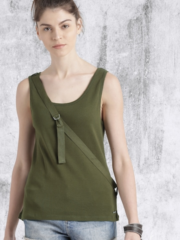 Roadster Women Olive Green Solid Tank Top