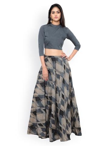 4c9c94a6ffa 55% OFF on Inddus Grey   Black Ikat-Woven Banarasi Cotton Semi-Stitched Lehenga  Choli on Myntra