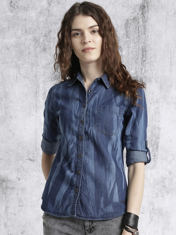 Roadster Women Blue Denim Faded Casual Shirt
