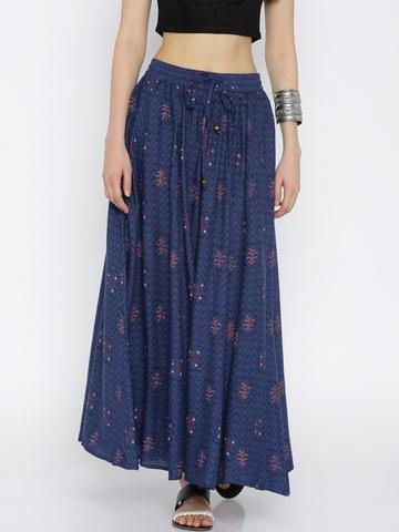 5d1f7011d Buy AKKRITI BY PANTALOONS Blue Printed Maxi Skirt on Myntra | PaisaWapas.com