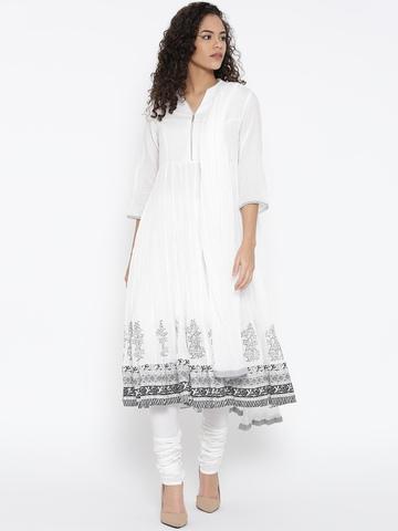 74257c22df1 5% OFF on Biba White Printed Detail Anarkali Churidar Kurta with Dupatta on  Myntra