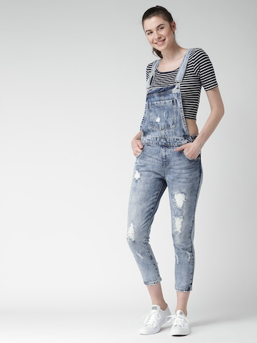 69dff44846e Buy FOREVER 21 Blue Washed Denim Distressed Dungarees on Myntra ...